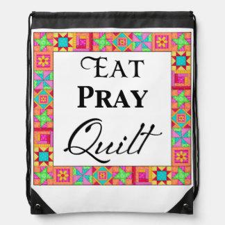 Colorful Quilt Blocks Border Art Eat Pray Quilt Drawstring Backpack