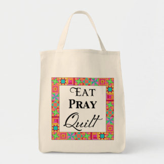Colorful Quilt Blocks Border Art Eat Pray Quilt Grocery Tote Bag