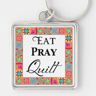 Colorful Quilt Blocks Border Art Eat Pray Quilt Keychain