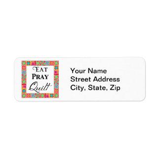 Colorful Quilt Blocks Border Art Eat Pray Quilt Label