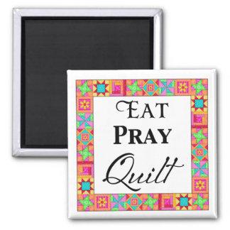 Colorful Quilt Blocks Border Art Eat Pray Quilt Magnet