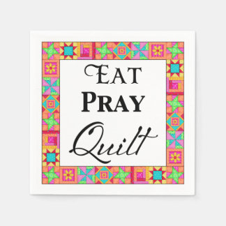 Colorful Quilt Blocks Border Art Eat Pray Quilt Napkin