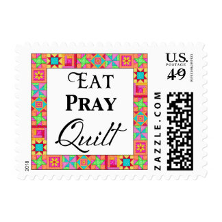 Colorful Quilt Blocks Border Art Eat Pray Quilt Postage