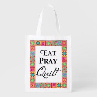 Colorful Quilt Blocks Border Art Eat Pray Quilt Reusable Grocery Bag
