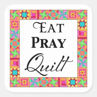 Colorful Quilt Blocks Border Art Eat Pray Quilt Square Sticker