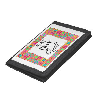 Colorful Quilt Blocks Border Art Eat Pray Quilt Tri-fold Wallet