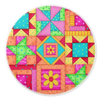 Colorful Quilt Patchwork Block Art Ceramic Knob