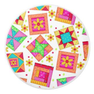 Colorful Quilt Patchwork Block Art on White Ceramic Knob