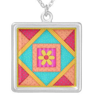 Colorful Quilt Patchwork Block Art Square Pendant Necklace