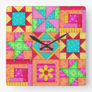Colorful Quilt Patchwork Block Art Square Wall Clock