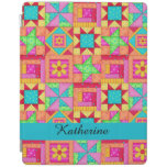 Colorful Quilt Patchwork Block Name Personalized iPad Cover