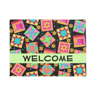 Colorful Quilt Patchwork Blocks Black Welcome Doormat