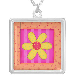 Colorful Quilt Patchwork Floral Block Art Square Pendant Necklace