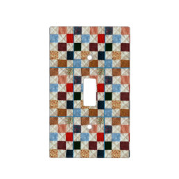 Colorful quilt pattern light switch cover