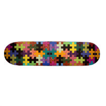Colorful Quilt Pattern Skateboard