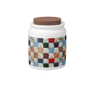 Colorful quilt squares pattern candy jar