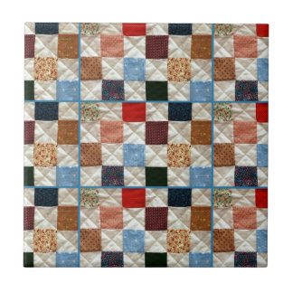 Colorful quilt squares pattern ceramic tile