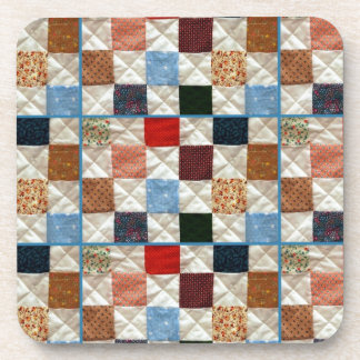 Colorful quilt squares pattern beverage coasters