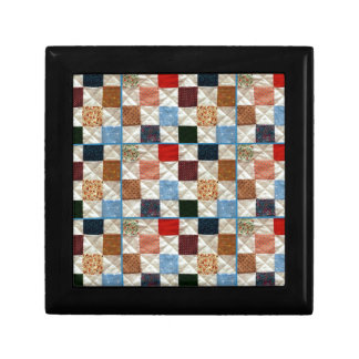 Colorful quilt squares pattern jewelry box
