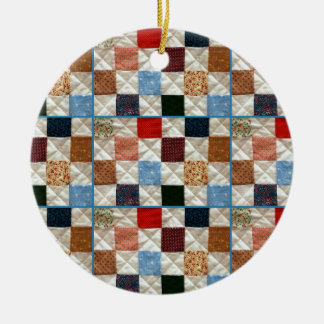 Colorful quilt squares pattern christmas tree ornaments