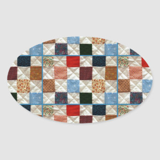 Colorful quilt squares pattern oval sticker