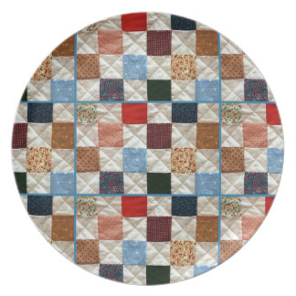 Colorful quilt squares pattern dinner plate