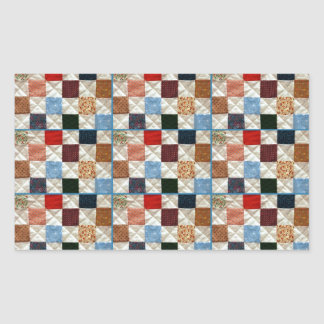 Colorful quilt squares pattern rectangular sticker