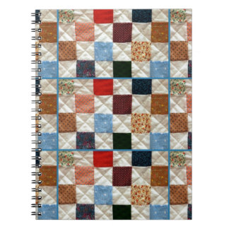Colorful quilt squares pattern spiral notebook