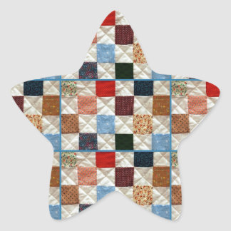 Colorful quilt squares pattern star sticker