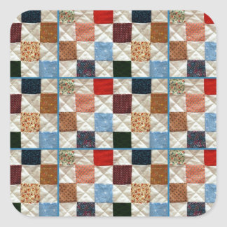 Colorful quilt squares pattern square sticker