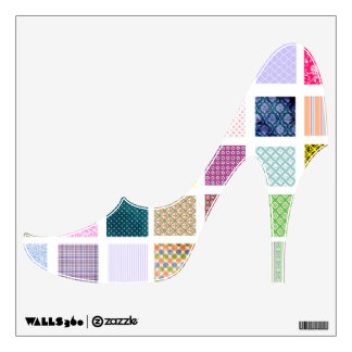 Colorful Quilt style high heeled shoe wall decal