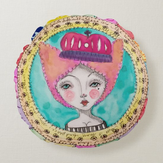 Colorful Quirky Art Illustration Girl Queen Doodle Round Pillow