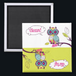 """Colorful Quirky Owl Clean Dirty Dishwasher Magnet<br><div class=""""desc"""">Colorful Quirky Owl Clean Dirty Dishwasher Magnet     Cute illustrations of a quirky colorful owl perched on a tree branch. Featuring an owl with floral pattern body. It&#39;s a fun and festive dishwasher magnet - perfect accent for any kitchen.</div>"""