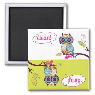 Colorful Quirky Owl Clean Dirty Dishwasher Magnet