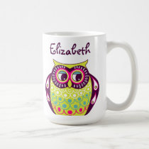 Colorful Quirky Tawny Owl Custom Name Mug