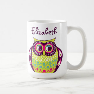 Colorful Quirky Tawny Owl Custom Name Mug