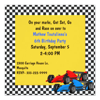 Colorful Race Cars Birthday Party Invitation