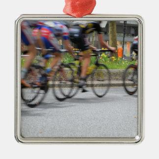Colorful Racing Cyclists Metal Ornament