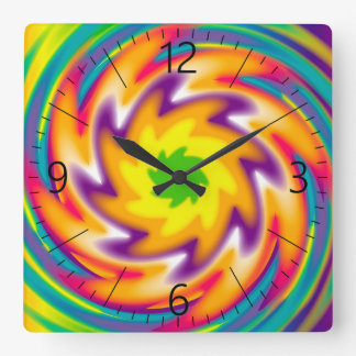 Colorful radial pattern square wall clock