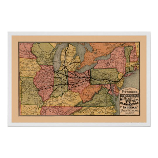 Colorful Railroad Map 1874 Poster