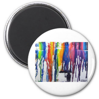 Colorful Rain 2 Inch Round Magnet