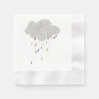Colorful Rain Cloud Cocktail Paper Napkins