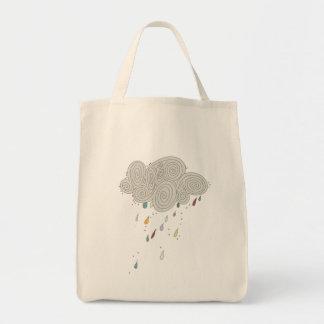 Colorful Rain Cloud Grocery Tote