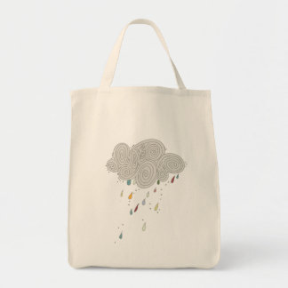 Colorful Rain Cloud Grocery Tote Grocery Tote Bag