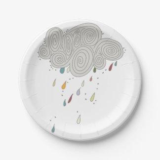 Colorful Rain Cloud Paper Plates 7 Inch Paper Plate