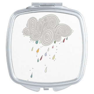 Colorful Rain Cloud Square Compact Mirror