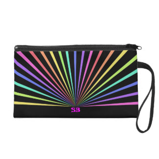 Colorful Rainbow Abstract Graphic Design Wristlet Purse