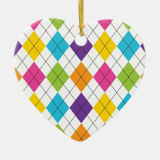 Colorful Rainbow Argyle Diamond Pattern Teen Gifts Double-Sided Heart Ceramic Christmas Ornament