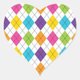 Colorful Rainbow Argyle Diamond Pattern Teen Gifts Heart Sticker
