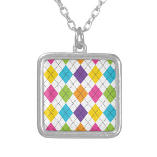 Colorful Rainbow Argyle Diamond Pattern Teen Gifts Necklaces